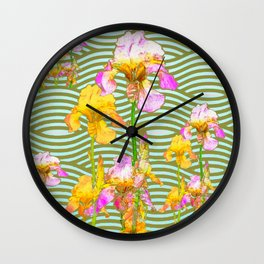 White-Pink  yellow Iris Wave Art Wall Clock