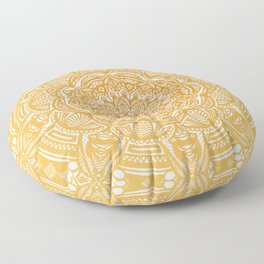 Golden Mustard Yellow Orange Ethnic Mandala Detailed Floor Pillow
