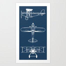 Biplanes // Navy Art Print