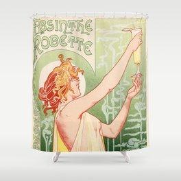 Absinthe Robette 1896 by Henri Privat Livemont Art Nouveau Vintage Poster 1896 Artwork for Prints Po Shower Curtain