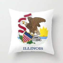 Illinois State Flag, authentic color & scale Throw Pillow