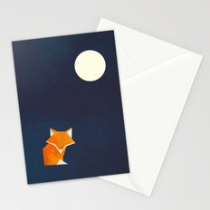 Origami Fox and Moon Stationery Cards