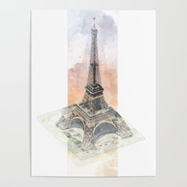 Paris Eiffel Tower - axonometric Poster