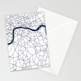 London White on Navy Street Map Stationery Cards
