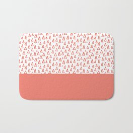 Triangles Coral Red Bath Mat