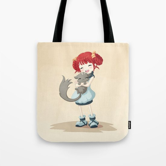 Girl and a Cat Tote Bag