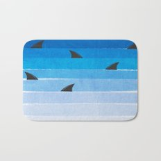 Sharks - shark week trendy black and white minimal kids pattern print ombre blue ocean surfing  Bath Mat