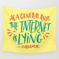 internet Wall Tapestries featuring The Internet is Lying by Josh LaFayette