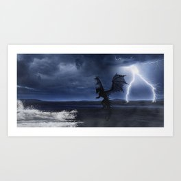 Dragon in the darkness Art Print
