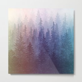 My Misty Secret Forest - colorful rainbow Metal Print