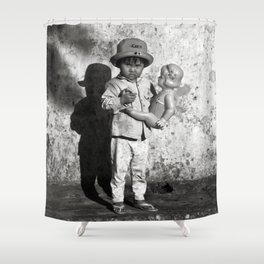GIRL WITH DOLL in VIETNAM Shower Curtain
