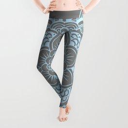 Mandala Flower Gray & Baby Blue Leggings