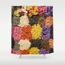 Colorful pattern of balloon nozzles packed in kit Shower Curtain