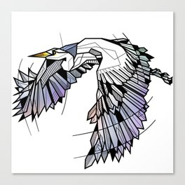 Heron Geometric Bird Canvas Print