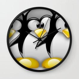 Linux Tux penguins friends Wall Clock