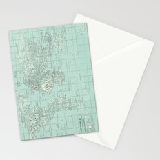 Vintage World Map in Soft Teal Stationery Cards