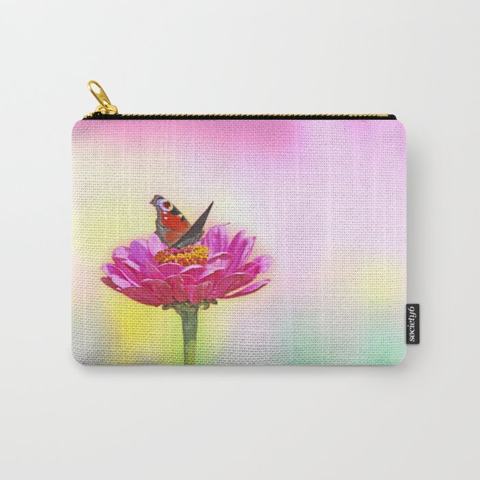 Butterfly landing on pink flower Carry-All Pouch