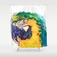 parrot Shower Curtains featuring Parrot by jbjart