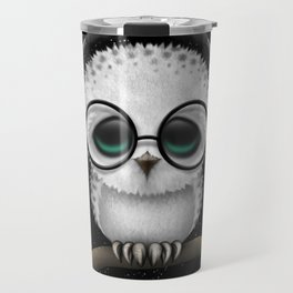 Cute Baby Owl Dj with Headphones and Glasses Travel Mug