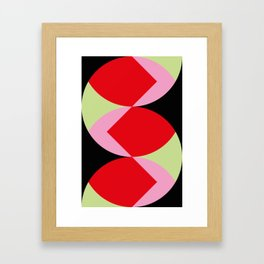 Snake Shaped Window in a black wall. Red and pink acorns in the background, on a soft green grass. Framed Art Print