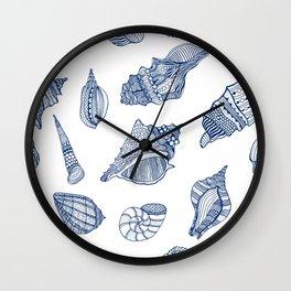 Navy Blue White Tropical Ocean Seaside Summer Beach Seashell  Wall Clock