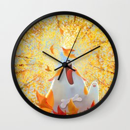Autumn Corgi Wall Clock