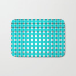 Chequered Grid - Turquoise Bath Mat