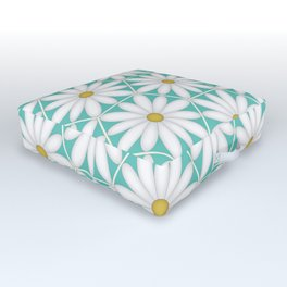 Daisy Hex - Turquoise Outdoor Floor Cushion