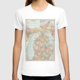 Vintage Map of Michigan (1901) 2 T-shirt