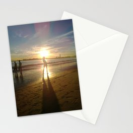 Woman on the Beach with Sunset Stationery Cards