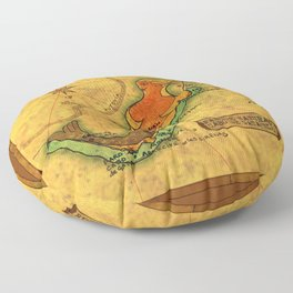 Map Mermaid Cabo de Gata Floor Pillow