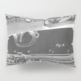 Bolt Action Rifle Patent - Repeating Receiver Art - Black Chalkboard Pillow Sham