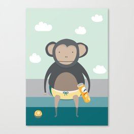 Monkey Eating Crisps Canvas Print