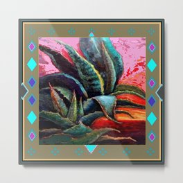 PUTTY COLOR ART DECO SOUTHWEST DESERT AGAVE Metal Print