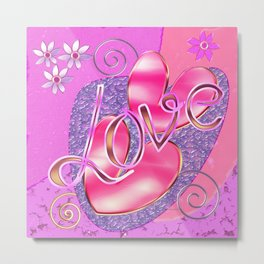 Romantic Girly Glossy Hearts & Love design Metal Print