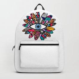 Greek Evil Eye Groovy Flower Backpack