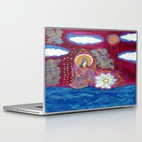 budi satria kwan Laptop & iPad Skins featuring Offerings-Kwan Yin by J. Lashua Art