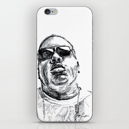 Digital Drawing 33 - Notorious B.I.G. Black and White iPhone Skin