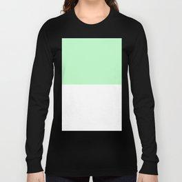White and Mint Green Horizontal Halves Long Sleeve T-shirt