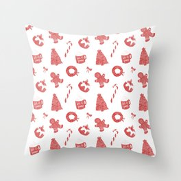 Red Christmas Holiday Pattern Throw Pillow