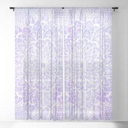 White Mandala on Pastel Blue and Purple Textured Background Sheer Curtain