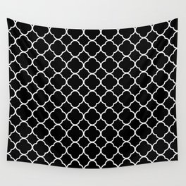 Clover Quatrefoil Pattern: Black & White Wall Tapestry