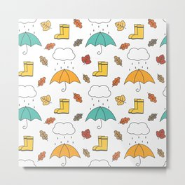 cute lovely autumn pattern with umbrellas, rain, clouds, leaves and boots Metal Print