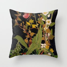 Tom Thomson - Moccasin Flower, Orchids, Algonquin Park - Canada, Canadian Oil Painting - Group of Se Throw Pillow