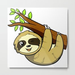 Sloth on a Branch Metal Print