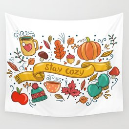 Stay Cozy in Autumn Wall Tapestry