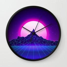 Retro Vaporwave Mountain Wall Clock