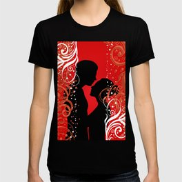 Boy and girl with ornamental background T-shirt