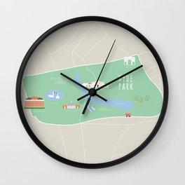 London, England, UK | Hyde Park, Kensington Gardens Map Wall Clock