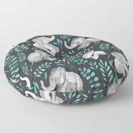 Laughing Baby Elephants – emerald and turquoise Floor Pillow